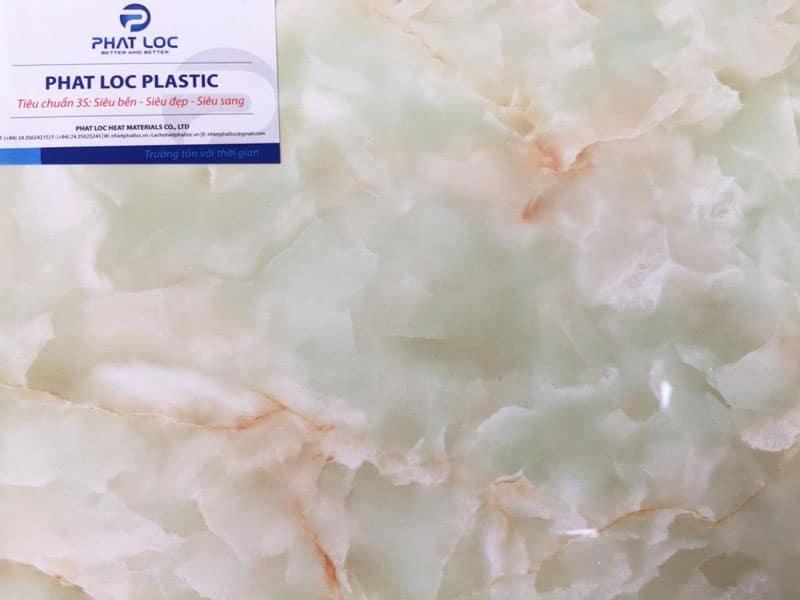 Tấm PVC vân đá PL-8615 (bông tuyết xanh ngọc)