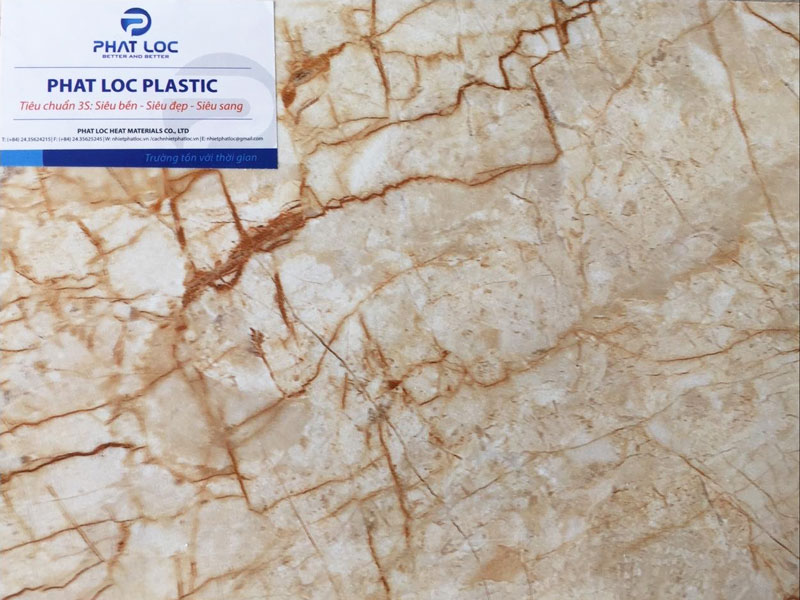 Tấm PVC vân đá PL-8616 (Vàng be chỉ đỏ)